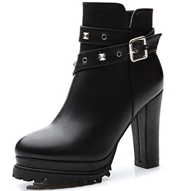 Bootsit-Leveä korko-Naisten-Synteettinen-Musta-Toimisto Rento Juhlat