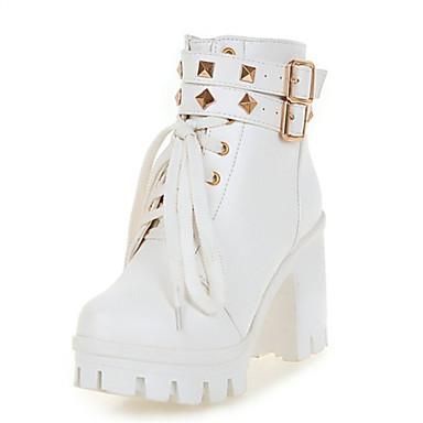 Mujer Zapatos Semicuero Otoño / Invierno Botas de Moda Botas Tacón Cuadrado / Talón de bloque Blanco / Negro / Boda / Fiesta y Noche