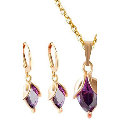Damen Kubikzirkonia Schmuck-Set - Zirkon Modisch Einschließen Halskette / Ohrringe Gold / Purpur Für Party / Alltag / Normal / Halsketten