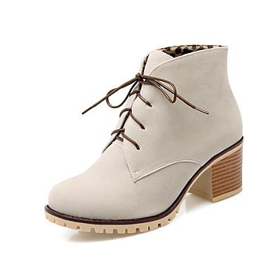 Dame-Kunstlær-Tykk hæl-Motestøvler-Støvler-Formell-Svart Gul Grønn Rosa Grå Mandel
