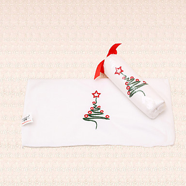 1pc hvid jul håndklæde broderi juletræet design badeværelse bruser party gave