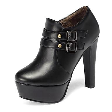 Damen Schuhe Kunstleder Winter Herbst Stiefeletten Stiefel Blockabsatz Plattform Schnalle für Normal Büro & Karriere Party & Festivität
