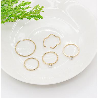 billige Motering-Dame Knokering Pinky Ring 5pcs Sølv Gylden Legering damer Personalisert Uvanlig Fest Daglig Smykker Justerbar