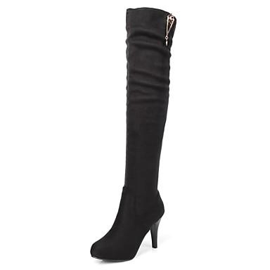 Dames Schoenen Kunstleer Winter Herfst Modieuze laarzen Laarzen Naaldhak Knielaarzen Kristal voor Causaal Feesten & Uitgaan Zwart Bruin