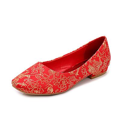Dames Platte schoenen Herfst Comfortabel / Ronde neus / Dichte neus Katoen Huwelijk Platte hak Overige Rood Wandelen