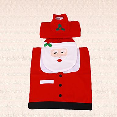 3stk nye år jul santa claus fiskeøjne toiletsæde cover tankdækslet og tæppet badeværelse indendørs indretning
