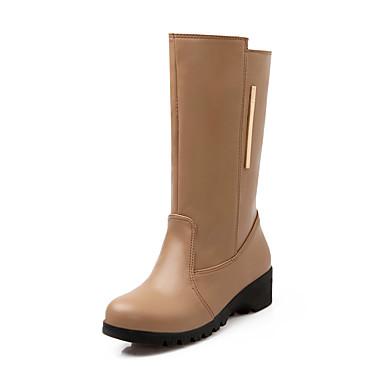 Støvler-Kunstlæder-Modestøvler-Dame-Sort Hvid Mandel-Udendørs Kontor Fritid-Kilehæl