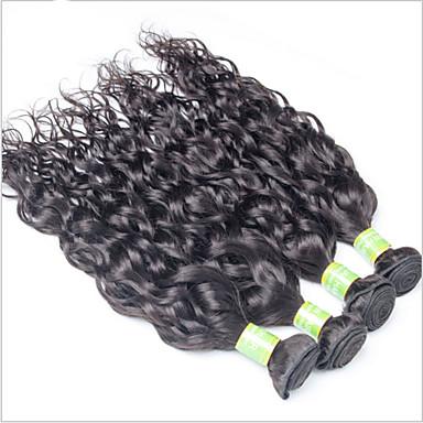 Menneskehår Vevet Europeisk hår Naturlige bølger 18 måneder 4 deler hår vever