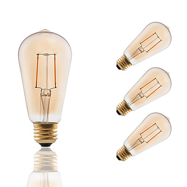 GMY® 4pcs 180lm E26 / E27 LED Glühlampen ST19 2 LED-Perlen COB Abblendbar Dekorativ Bernstein 110-130V