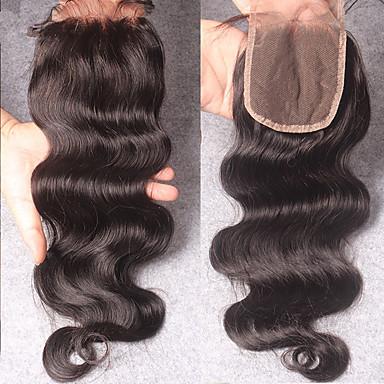 Indisk hår 100 % håndknyttet Krop Bølge Gratis Part / Midtre del / 3 Del Sveitsisk blonde Remy-hår / Ekte hår