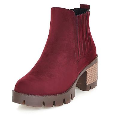 Sort / Brun / Gul / Rød / Mandel-Platå-Kvinders Sko-Plateau / Ankelstøvler / Modestøvler-Kunstlæder-Udendørs / Kontor / Hverdag-Støvler