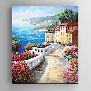Hånd-malede Abstrakt / Landskab / Still Life / Fantasi / Abstrakt Landskab Oliemalerier,Moderne / Middelhavet / Parfumeret / Europæisk