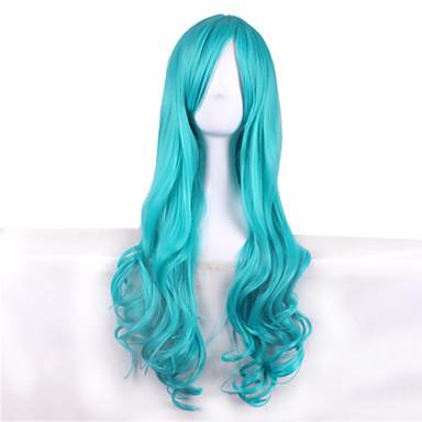 Cabelo Sintético perucas Ondulado Sem Touca Peruca Fantasia Longo Azul