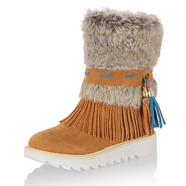 Dame Sko Pels Fleece Høst Vinter Trendy støvler Snøstøvler Støvler Plattform Dusk Til Avslappet Formell Svart Grå Brun Rød