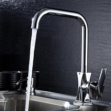Moderna bico padrão Montagem em Plataforma Rotativo Válvula Cerâmica Monocomando e Uma Abertura Cromado, Torneira de Cozinha