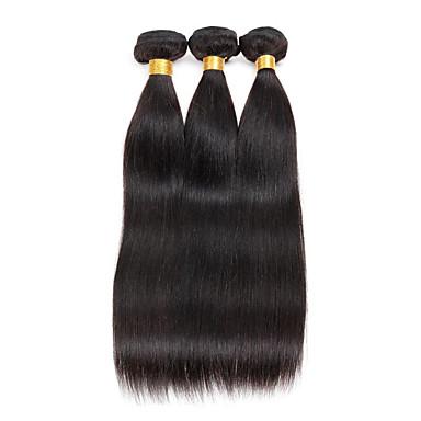 3 Bundler Brasiliansk hår Lige Menneskehår Menneskehår, Bølget Menneskehår Vævninger 8a Menneskehår Extensions / Ret