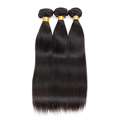 Cabelo Brasileiro Liso Cabelo Virgem Cabelo Humano Ondulado 8-26polegada Tramas de cabelo humano 8a Preto Natural / Reto