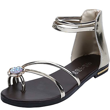 Damen Schuhe Kunststoff Frühling Sommer Sandalen Flacher Absatz Perlenstickerei für Normal Büro & Karriere Kleid Silber Golden