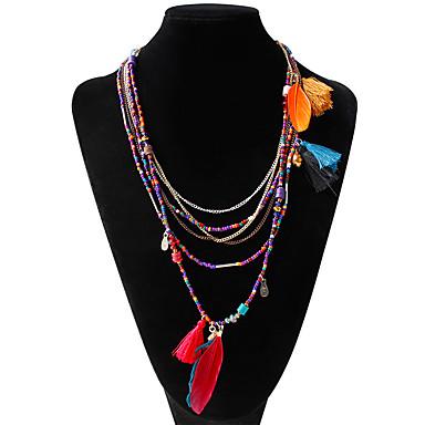 Damen Stränge Halskette - Feder Böhmische, Modisch Regenbogen Modische Halsketten Schmuck Für Hochzeit