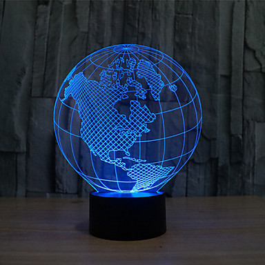 kart over amerika touch dimming 3d led natt lys 7colorful dekorasjon atmosf?re lampe nyhet ...
