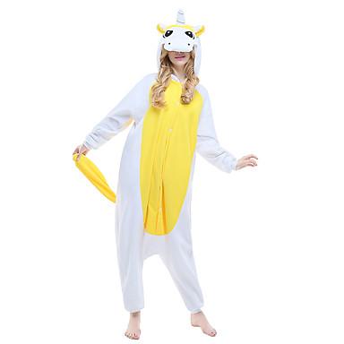 Adulto Pijamas Kigurumi Unicórnio Pijamas Macacão Ocasiões Especiais Lã Polar Amarelo Cosplay Para Pijamas Animais desenho animado Dia das Bruxas Festival / Celebração / Natal