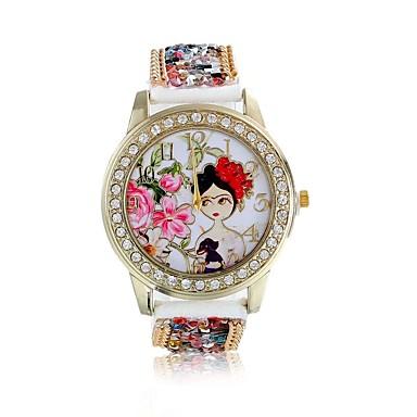 Damen Armbanduhr Imitation Diamant / / Leder Band Blume / Modisch Rot