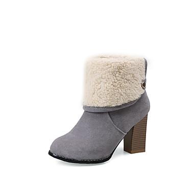 Dame-Kunstlær-Tykk hæl-Motestøvler-Støvler-Formell-Svart Grå Mandel