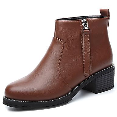 Støvler-SyntetiskDame-Sort Brun-Kontor Fritid-Tyk hæl