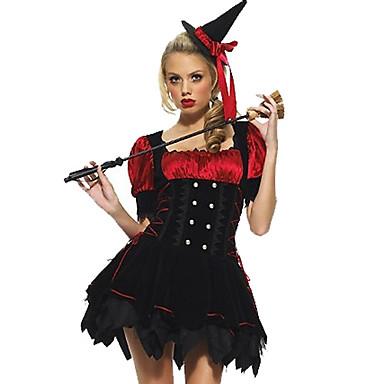 Heks Cosplay Kostumer Maskerade Festkostume Kvindelig Halloween Festival / Højtider Halloween Kostumer Sort/Rød Ensfarvet