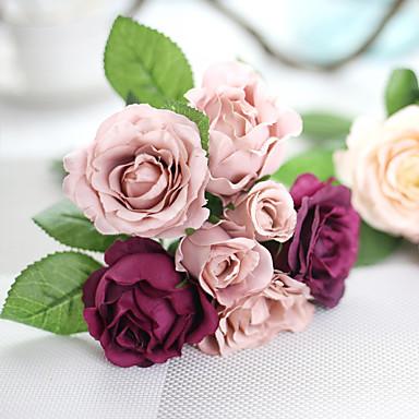 1 1 Ramo Poliéster Rosas Flor de Mesa Flores artificiais 9.8*5.5*5.5(inch)