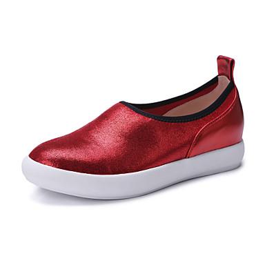 Loafers og Slip-ons-Læder-Komfort-Dame-Rød Sølv-Kontor Formelt Fritid-Flad hæl