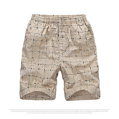 Tryk Mænds Fritid Shorts Bomuld Blå / Brun / Gul