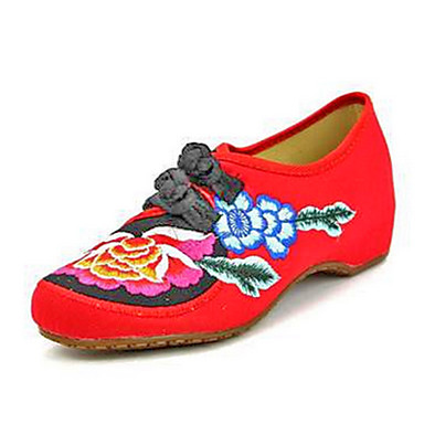 Fladsko-Kanvas-Komfort Mary Jane-Dame-Sort Rød-Fritid-Flad hæl