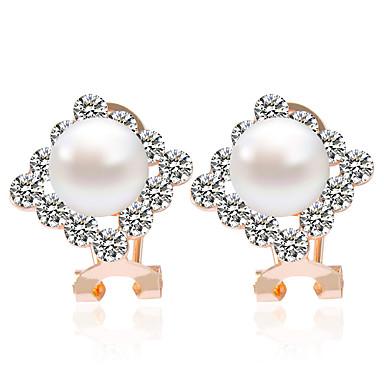 Firkantet form Smykker Dame Mode Bryllup Fest Daglig Afslappet Legering Imiteret Perle Zirkonium 1 par Gylden Sølv Hvid