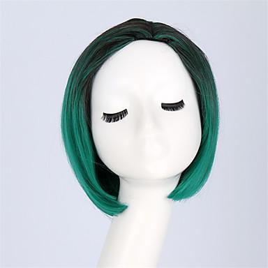 Synthetische Perücken Glatt Bubikopf Synthetische Haare Gefärbte Haarspitzen (Ombré Hair) Schwarz Perücke Damen Kappenlos Schwarz