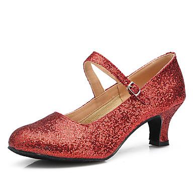 Dame Sko til latindans / Moderne sko Glimtende Glitter / Paljett Høye hæler Innendørs / Trening Gummi / Spenne Stiletthæl Kan