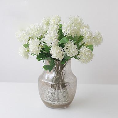 1 Tak Polyester Kunststof Hortensia's Bloemen voor op tafel Kunstbloemen
