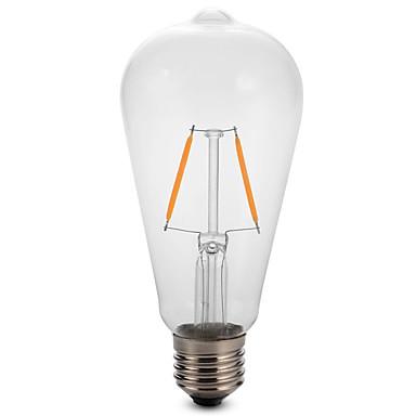 1pc 2W 180 lm E26/E27 LED Glühlampen ST64 2 Leds COB Dekorativ Warmes Weiß Kühles Weiß Wechselstrom 220-240V