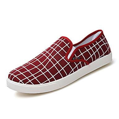 Loafers og Slip-ons-Kanvas StofHerre-Sort Blå Rød-Fritid-Flad hæl