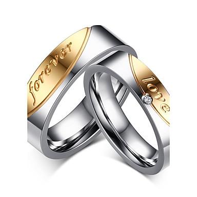 Casal Zircônia cúbica Anel de banda / Anel - Rosa ouro Coração Clássico, Estilo simples, Elegante 6 / 7 / 8 Dourado Para Casamento / Festa / Aniversário / Diário