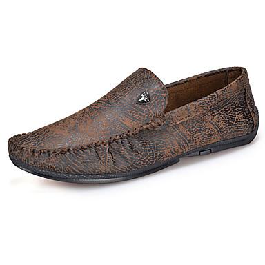 Fladsko-Læder-Komfort-Herre-Gul Orange Khaki-Fritid-Flad hæl