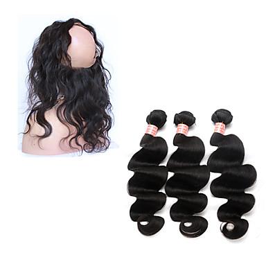 4 paquetes Cabello Brasileño 360 Frontal / Ondulado Grande Cabello humano Trama del pelo con cierre Cabello humano teje Extensiones de cabello humano