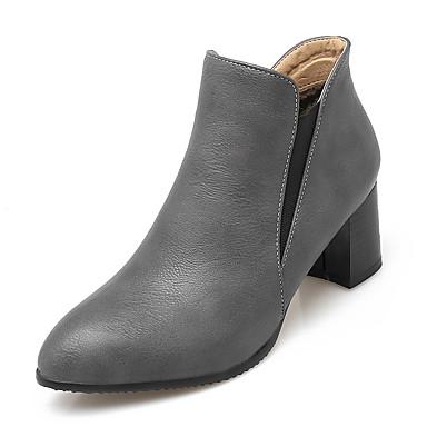 Feminino Sapatos Courino Outono Inverno Botas Caminhada Salto Robusto Elástico Para Casual Social Branco Preto Cinzento