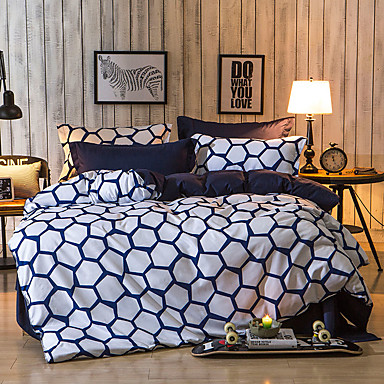 Geometrisk Sengesæt 4 Dele Polyester Mønster Reaktivt Print Polyester Dubbel 4stk (1 Dynebetræk, 1 Lagen, 2 Pudebetræk)