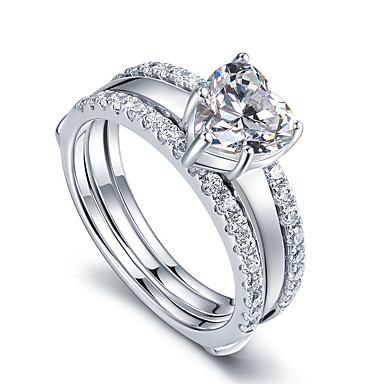 Dame Båndringe Kærlighed Mode Sølv Rhinsten Smykker Bryllup