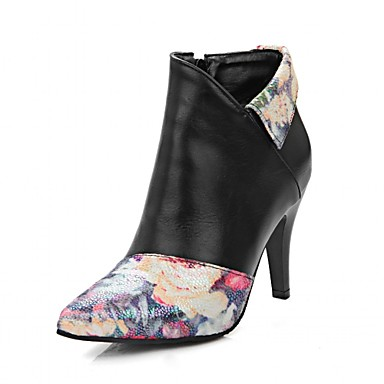 Hæle-Syntetisk laklæder Kunstlæder-Combat-støvler Cowboystøvler Ankelstøvler Ridestøvler Modestøvler Motorcykelstøvler-Dame-Sort Beige-