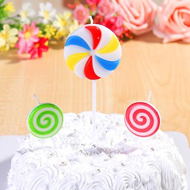 partiet dekorasjon happybirthday bursdag lys satt (3 stk) lollipops