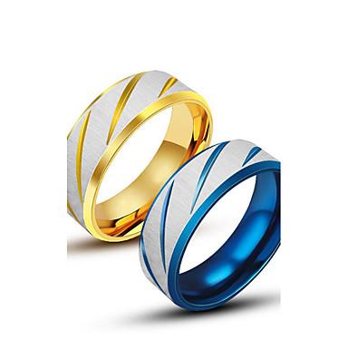 Herre Band Ring - Titanium Stål Unikt design, Mote 7 / 8 / 9 Gull / Blå Til Avslappet