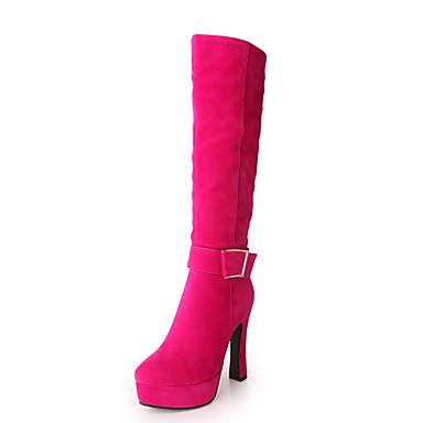 Sort / Vandmelon / Mandel-Tyk hæl-Kvinders Sko-Plateau / Modestøvler-Kunstlæder-Udendørs / Hverdag / Fest/aften-Støvler