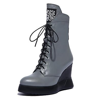 Mulheres Sapatos Pele Napa Outono Gladiador Botas Salto Plataforma Cadarço para Social Preto Cinzento